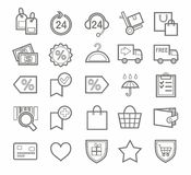 Affare, Internet, icone, linea, pagamento, consegna Fotografia Stock Libera da Diritti