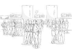 Affare interno Team Hand Drawn People dell'ufficio della folla delle persone di affari di schizzo illustrazione vettoriale