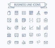Affare, linea sottile mini icone di vettore di finanza messe griglia 24x24 Pixel perfetto Colpo editabile Fotografia Stock
