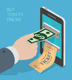 Affare mobile isometrico piano del biglietto 3d online: biglietto dello smartphone Immagini Stock Libere da Diritti
