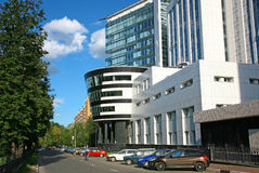 Affare moderno che costruisce Gazprom in Nižnij Novgorod Fotografia Stock