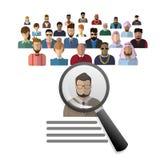 Affare Person Candidate People Group di raccolto della lente d'ingrandimento dello zoom di assunzione Immagini Stock Libere da Diritti