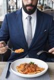 Affare Person Dining Indoors Concept Fotografie Stock Libere da Diritti