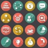 Affare piano ed icone finanziarie messi Illustrazione di Stock