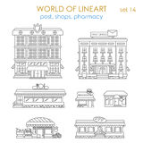 Affare pubblico di architettura grafica di Lineart: la posta compera caffè Fotografie Stock Libere da Diritti