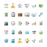 Affare realistico, ufficio ed icone 1 di finanza illustrazione di stock