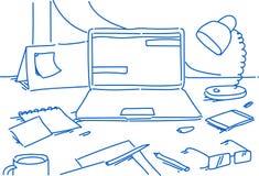 Affare stazionario dello scrittorio dell'ufficio della casa del posto di lavoro del computer portatile della lampada dello smartp royalty illustrazione gratis