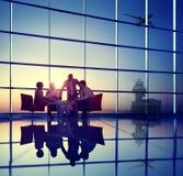 Affare Team Discussion Meeting Airplane Take fuori dal concetto Fotografia Stock