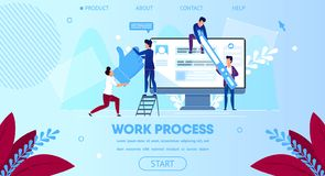 Affare Team Work Together, monitor enorme del computer royalty illustrazione gratis