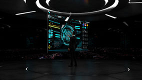 Affare, tecnologia e concetto della gente - giovane uomo d'affari che lavora con l'interfaccia virtuale del hud Fotografia Stock