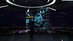 Affare, tecnologia e concetto della gente - giovane uomo d'affari che lavora con l'interfaccia virtuale del hud Fotografie Stock