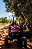 Affe auf einem Traktor in Sri Lanka Lizenzfreies Stockfoto