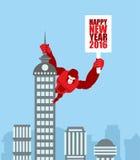 Affe auf Wolkenkratzer König Kong hält ein Zeichen mit neuem Jahr huge lizenzfreie abbildung