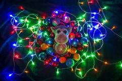Affe in den Weihnachtsdekorationen Chinesisches Symbol des neuen Jahres Lizenzfreie Stockbilder