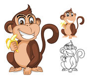 Affe, der Bananen-Zeichentrickfilm-Figur hält Lizenzfreies Stockbild