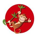 Affe, der am Baum hängt Stockfoto