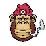 Affe, der eine Zigarette raucht Maskottchenlogo lizenzfreie abbildung