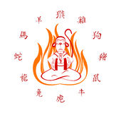 Affe, der herein im Feuer sitzt Übersetzung von Hieroglyphen albern, Hahn, Hund, Schwein, Ratte, Ochse, Tiger, Kaninchen, Drache  Stockbild