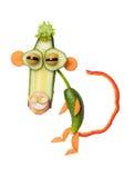 Affe gemacht mit Gemüse auf weißem Hintergrund Stockfoto