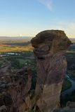 Affe-Gesicht, Smith Rock und gekrümmter Fluss Stockfotos