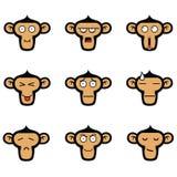 Affe-Gesichts-Ausdrücke eingestellt vektor abbildung