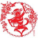 Affe hält eine große Pfirsichillustration Stockfotos
