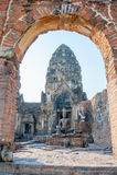 Affe im historischen Tempel Stockbild