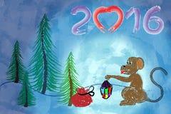 Affe im Winterwald Stockfoto