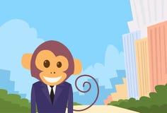 Affe-Karikatur-Geschäftsmann Suit Profile Stockbilder