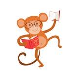Affe-lächelnde Bücherwurm-Zoo-Charakter-tragende Gläser und Ablesen eines Buch-Karikatur-Illustrations-Teils Tiere in der Bibliot Lizenzfreies Stockbild