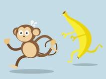 Affe laufen gelassen weg von großer Banane Lizenzfreies Stockbild