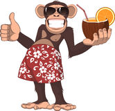 Affe mit einem Cocktail lizenzfreie abbildung