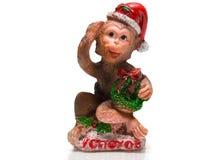Affe mit einem Geschenk Lizenzfreies Stockbild