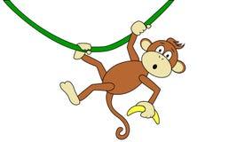 Affe mit einer Banane Lizenzfreies Stockbild