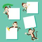 Affe mit leerem Zeichen-Satz Stockbilder