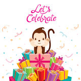 Affe mit Stapel von Geschenken Stockfoto