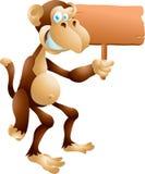 Affe mit Zeichen Stockfotografie