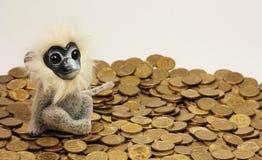 Affe sitzt auf einem Stapel von Goldmünzen Ein Affe sitzt auf Lizenzfreie Stockbilder