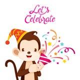 Affe-Spaß mit Partei Lizenzfreie Stockfotografie