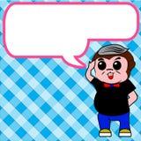 Affe streed Textboxblauhintergrund Stockfoto