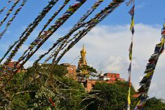 Affe-Tempel mit tibetanischen buddhistischen Gebetsflaggen Stockfotografie