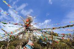 Affe-Tempel mit tibetanischen buddhistischen Gebetsflaggen Lizenzfreie Stockfotografie