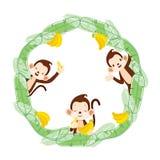 Affe und Banane auf Kreis-Rahmen Lizenzfreies Stockfoto
