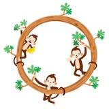 Affe und Banane auf Kreis-Rahmen Lizenzfreie Stockfotos