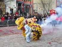 Affe und chinesische Löwen Stockfotos
