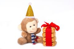Affe- und Weihnachtsplätzchen Lizenzfreies Stockfoto