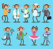 Affe wie Naturvektor-Tierberufe der Leute lächelnde tanzen, behandeln, Geschäft, Chef Spielerisches Säugetier lustig vektor abbildung