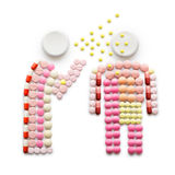 Affected by cold. Creative health concept made of drugs and pills, isolated on white. A person that caught a cold, sneezing and spreading disease while standing Royalty Free Stock Photo