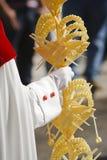 Affectez le pénitent tenant une paume pendant la semaine sainte pendant la paume dimanche photographie stock libre de droits