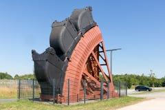 Affectez les mines de charbon de creusement Allemagne d'exploitation à ciel ouvert d'excavatrice de roue de seau images stock